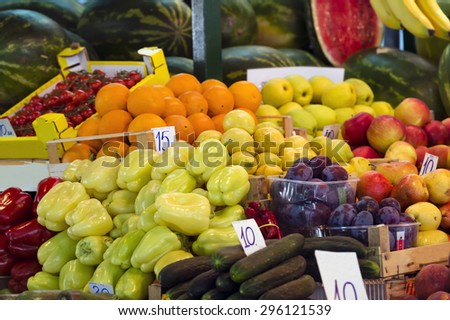 Sale of fruits on the croatian market.