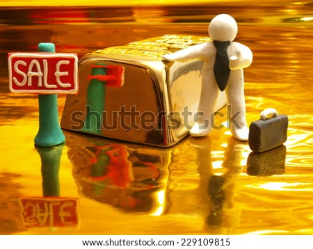 Sale of gold at the most favorable prices - stock photo