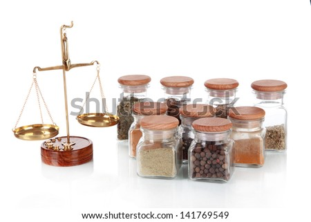 Sale of spices isolated on white - stock photo
