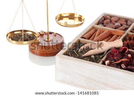 Sale of tea and spices isolated on white - stock photo