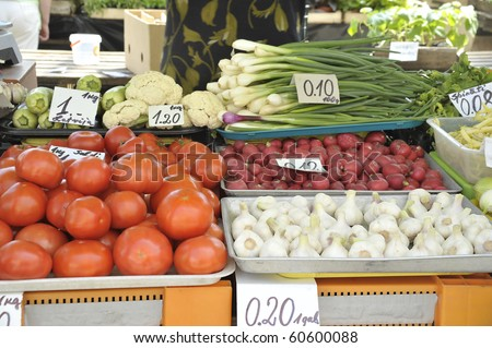 Sale of vegetables on a market in the summer