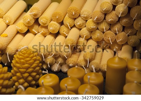 sale of wax candles for holiday - stock photo