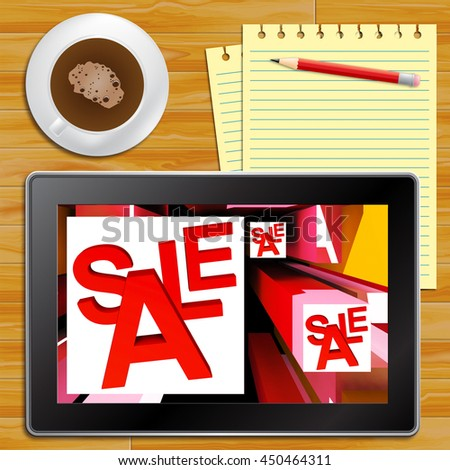 Sale On Cubes Showing Special Discounts And Promotions Tablet - stock photo