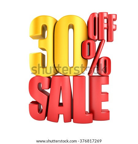 Sale 30 percent off in red letters 3d render on a white background. - stock photo