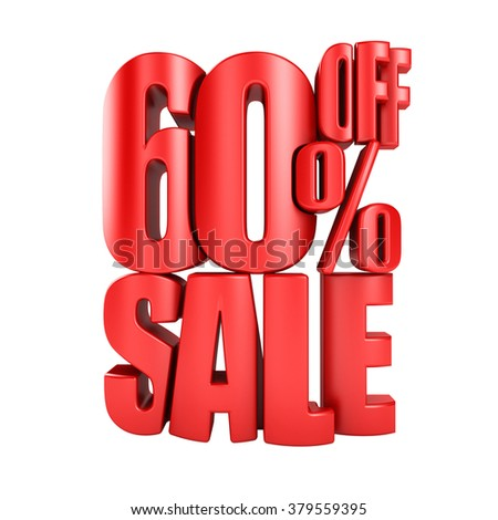 Sale 60 percent off in red letters 3d render on a white background. - stock photo