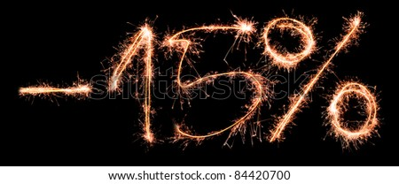 Sale percents made of real sparklers - stock photo