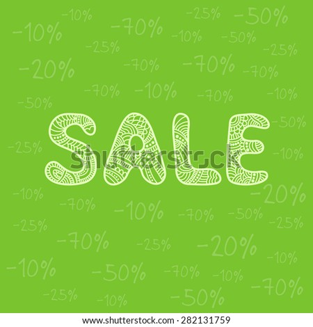 Sale poster with beautiful letters and percent discount. Raster version - stock photo
