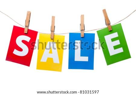 Sale price tag on line - stock photo