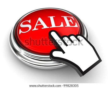 sale red button and cursor hand on white background. clipping paths included - stock photo