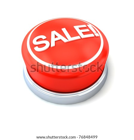 Sale red button on white