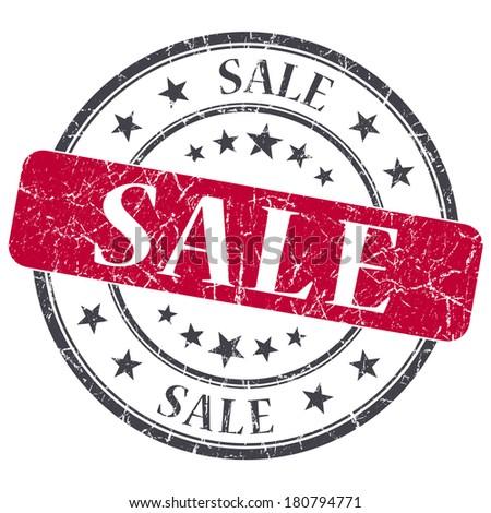 Sale red grunge round stamp on white background - stock photo