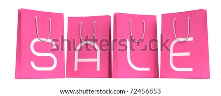 Sale Season Is Open! :) Four pink shopping bags with the letters SALE separately on each. 3D rendered image. I've used my own designed font - stock photo