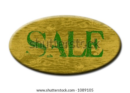 Sale sign button with wood grain design