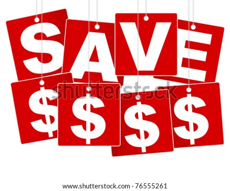 Sale Sign - White Save Money Sign on Red Background - stock photo