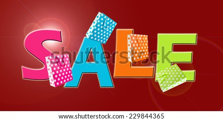 Sale sign with gift bags on red background - stock photo
