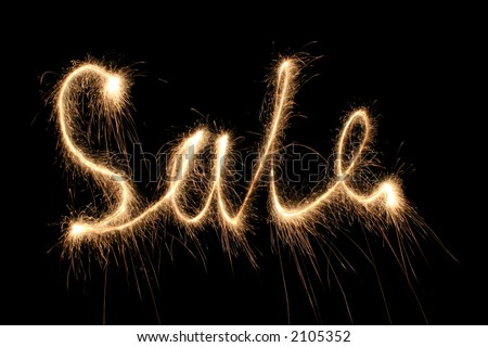sale sparkler (you can see other words in my portfolio) - stock photo
