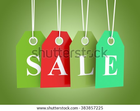 Sale tag on colored hanging labels - stock photo