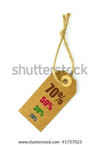 Sale tag on white background - stock photo