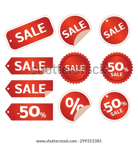 sale tag set - stock photo