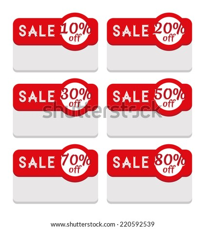 Sale Tag Template - Various Discount Percentage. Discount and sale label set: 10, 20,30, 50,70 and 80 percent off. Perfect to promote retail offers on products and services. Modern flat design. - stock photo