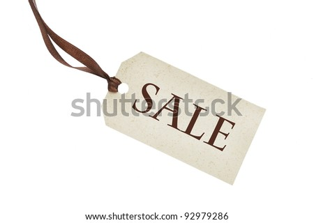 Sale tag tied with string - stock photo