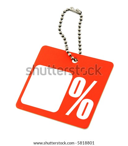 Sale tag with copy space and  percent symbol isolated on white background - stock photo