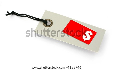 Sale tag with copy space for price and $ symbol, no copyright infringement - stock photo