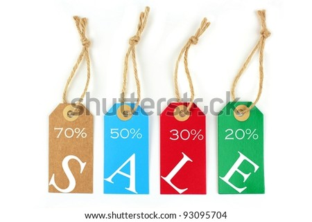 Sale tags, 70%, 50%, 30%,20% - stock photo