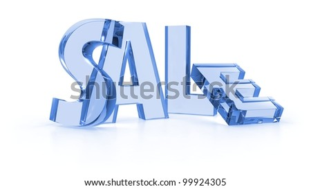 Sale tags blue color in white background - stock photo