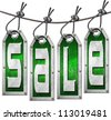 Sale Tags Hanging on White Background / Grunge metallic and green tags hanging on a steel cable with written sale - stock photo