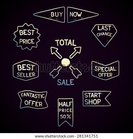 Sale tags set in retro-futurism style - stock photo