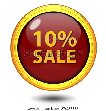 Sale ten percent circular icon on white background