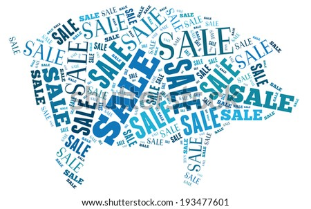 Sale text illustrated in pig shape