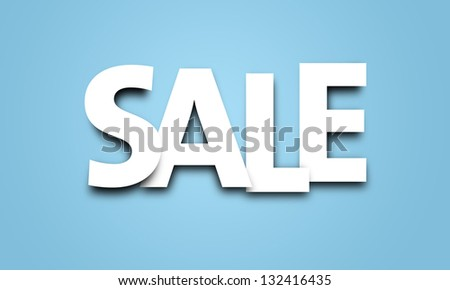 Sale text in white with blue background