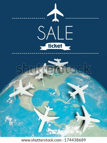 Sale ticket travel concept, airplanes on globe - stock photo