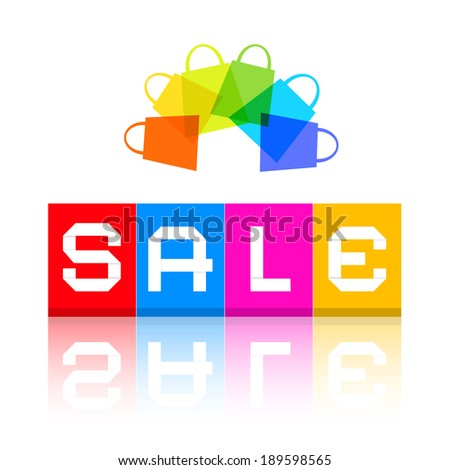 Sale Title and Colorful Shopping Bags - stock photo