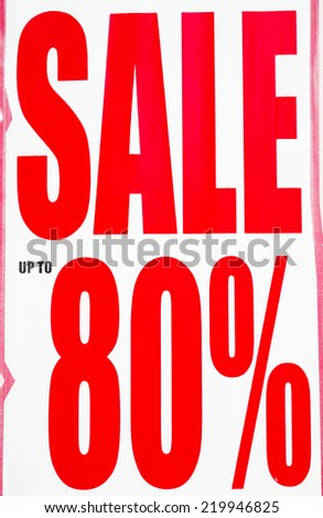 Sale up to 80 Percents Promotion Label - stock photo