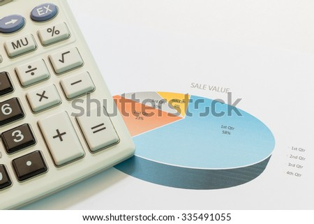 Sale values graphs with calculator,Business concept. - stock photo