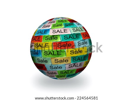 Sale  Word Cloud printed on colorful 3d sphere - stock photo
