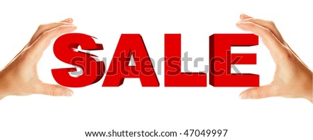 Sale word holding by two female hands, isolated over white background - stock photo
