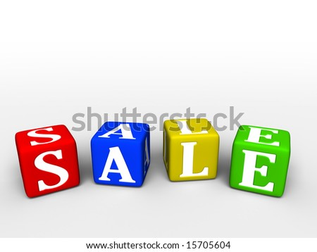 Sale word making from toy boxes
