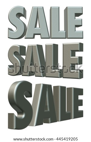 Sale word of metallic silver grey in 3D rendered on white background. - stock photo