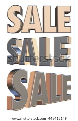 Sale word of metallic yellow silver in 3D rendered on white background. - stock photo