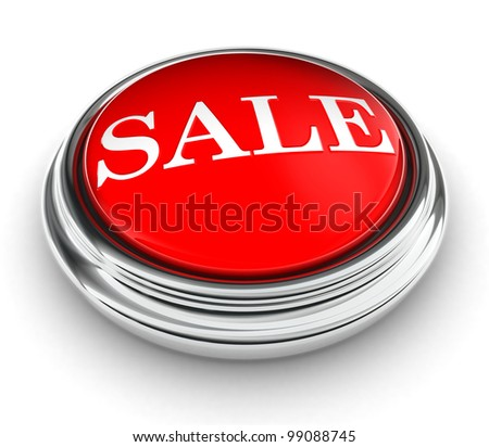 sale word on red push button on white background. clipping path included