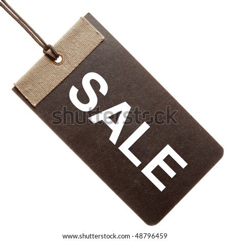 Sale written on black paper hang tag ( label ) isolated on white background - stock photo