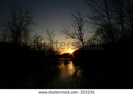 Salem Lake, Winston-Salem, NC February 2005 - stock photo