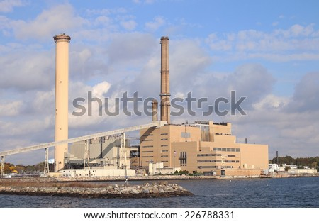 SALEM, MA - OCT 18, 2014: Power plant site in Salem, Mass. Footprint Power plans to build a natural gas fired power plant at this site as part of a broader redevelopment of the former coal burning power plant.