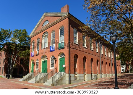 SALEM, MA, USA - SEPT 7: Old Town Hall on September 7th, 2014 in Salem, Massachusetts, USA. This federal style building is the oldest surviving municipal building in Salem.