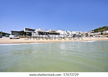 Salema beach view in the Algarve in Portugal - stock photo