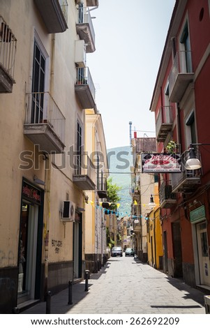 Salerno, Italy - July 07: View of the streets town of Salerno.Salerno is one of the towns of the Sorrento Coast,expensive and most beautiful European resort, on July 07, 2014